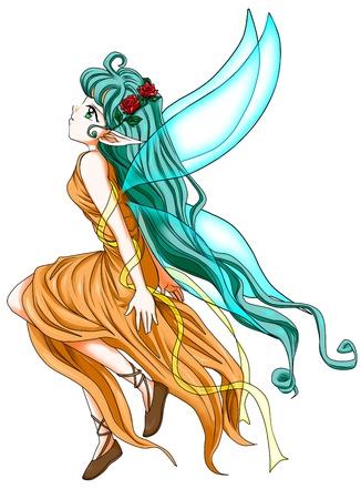 ojos anime: Fantas�a ilustraci�n de un duende Foto de archivo