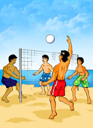 Illustration of people playing beach volleyball