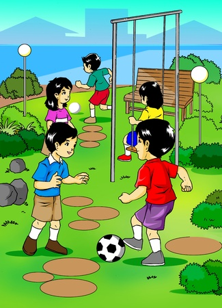 school playground: Illustration of kids playing on the playground