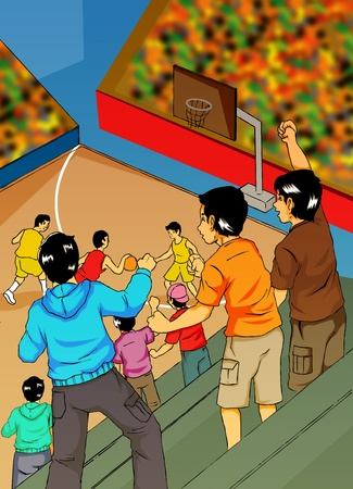 sport hall: Illustration of people watching basketball game Stock Photo