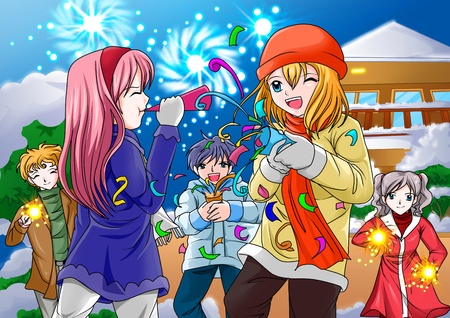 manga style: Group of children playing with firework and trumpet at new years eve