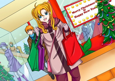 Illustration of a girl with shopping bags Stock Illustration - 11703456