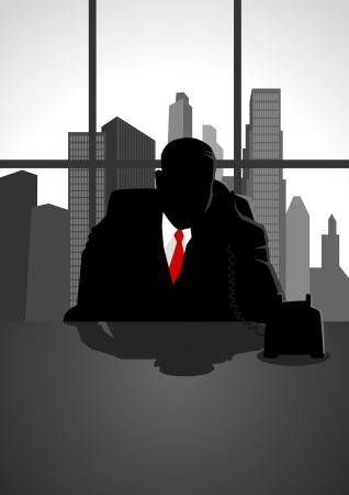 instruct: Silhouette illustration of a man figure using a telephone