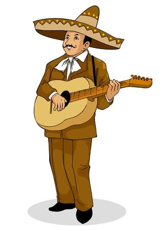 traje mexicano: ilustración de un músico mexicano