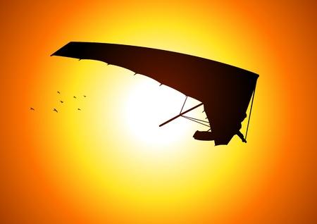 parapente: Silhouet illustratie van een man figuur zweefvliegen