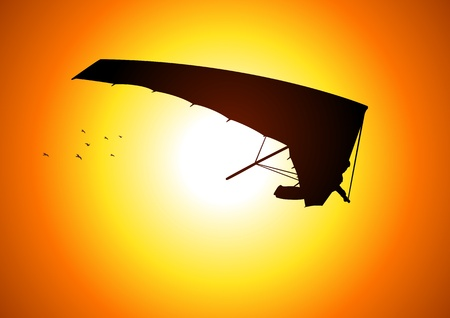 glider: Silhouette illustration of a man figure gliding