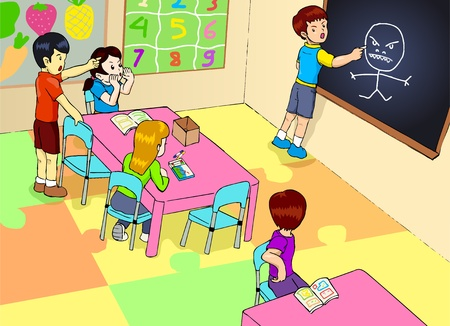 naughty girl: illustration of a kindergarten classroom  Illustration