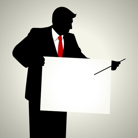 presentation board: Silhouette illustration of a male figure with presentation board