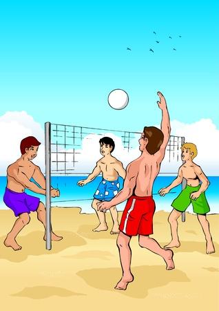 pelota de voley: Ilustración vectorial de personas jugando voleibol de playa Vectores