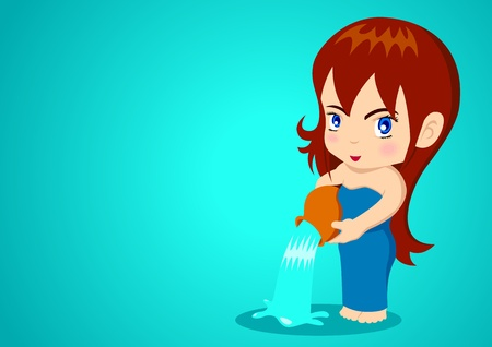 Cartoon illustration of Aquarius girl Vector
