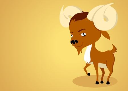 Vector illustration of Aries on yellow background Vector