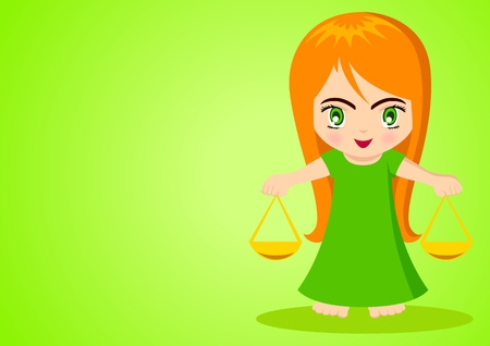 Cartoon illustration of Libra on green background