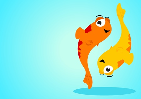 Cartoon illustration of Pisces on blue background Vector