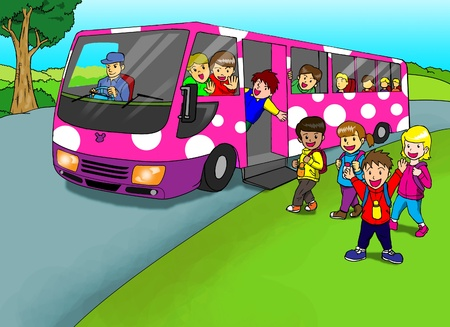 Cartoon illustration of children with school bus  illustration