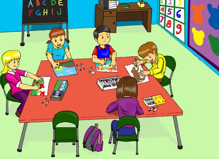 playgroup: Illustration of a kindergarten classroom Stock Photo