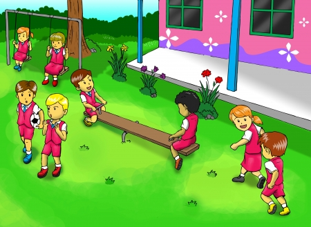 recess: Illustration of kids playing on the playground Stock Photo