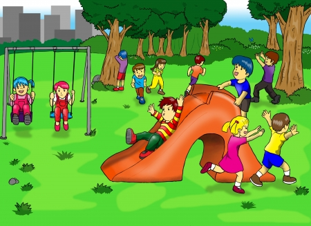playgroup: Illustration of kids playing on the playground Stock Photo