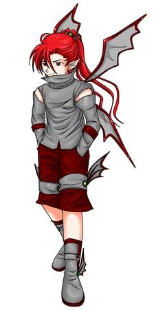 Fantasy illustration of a devil in anime style