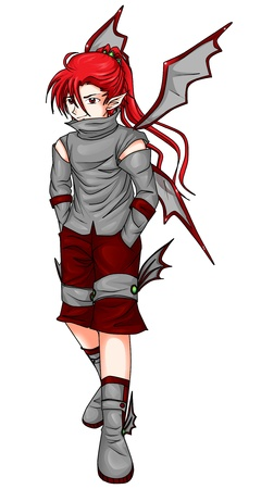 Fantasy illustration of a devil in anime style  illustration