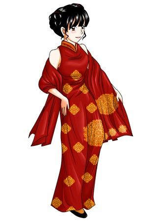 Ni�a china con el traje tradicional Foto de archivo - 12137880