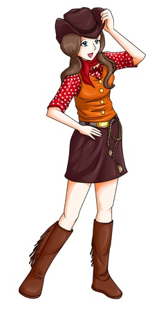 mini skirt: Cartoon illustration of a cowgirl