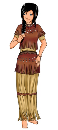 pocahontas: Native American girl in traditional costume