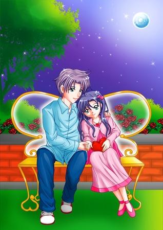 cuddle: Cartoon illustration of a couple cuddling on a park bench