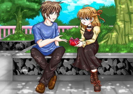 propose: Cartoon illustration of a man giving a girl a present