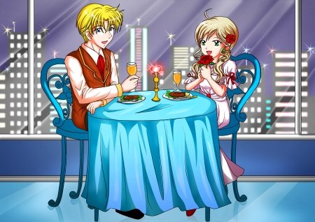 dinning table: Cartoon illustration of a couple having a romantic dinner Stock Photo