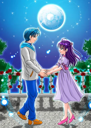 manga girl: Illustration of a couple holding hands under the moonlight