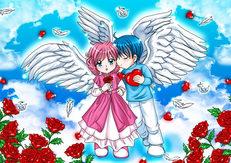 angel roses: Illustration of a couple of angels on the clouds Stock Photo