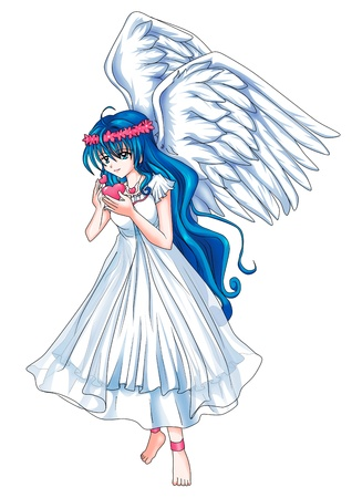 angel hair: Cartoon illustration of a beautiful angel holding a heart symbol