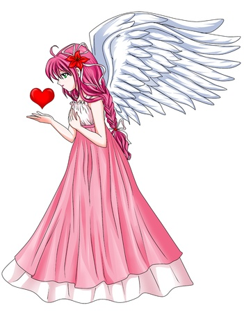 manga girl: Cartoon illustration of a beautiful angel holding a heart symbol
