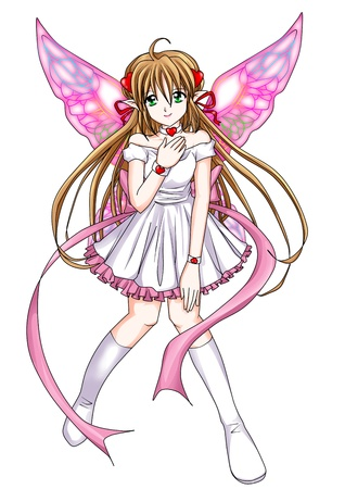 butterfly  angel: Cartoon illustration of a pixie Stock Photo