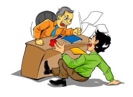 subordinate: Cartoon illustration of a boss who is upset to his employee