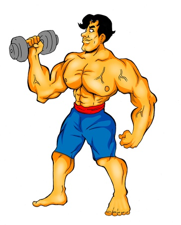 caricature: Cartoon illustration of a muscular man holding a dumbbell