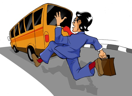 the left: Cartoon illustration of a man chasing a bus