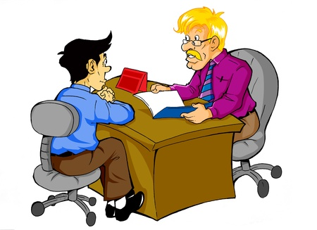 two people meeting: Cartoon illustration of a man being interviewed  Stock Photo
