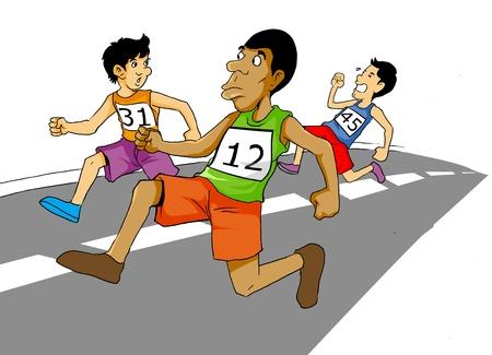 Cartoon illustration of men racing
