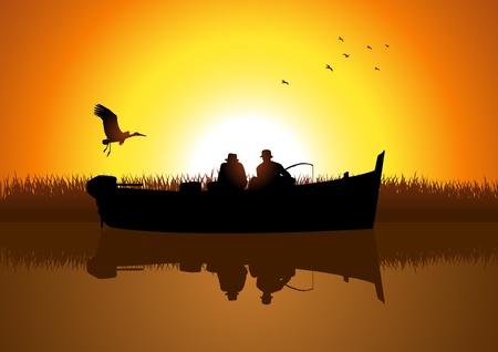 fishing boat: 호수에 두 남자의 실루엣 낚시의 그림 일러스트