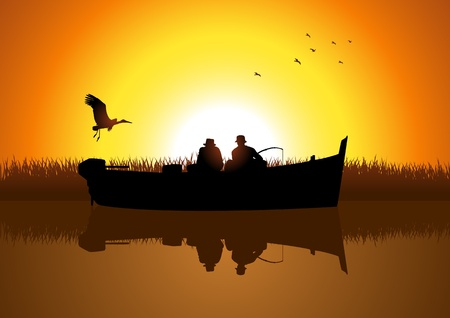 fisherman boat: illustration of two men silhouette fishing on the lake  Illustration