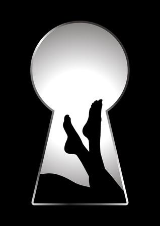 Silhouette of woman legs seen through a key hole  Illusztráció