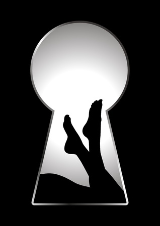 nude black woman: Silhouette of woman legs seen through a key hole  Illustration