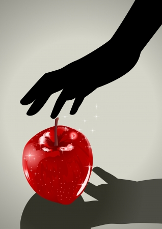Silhouette illustration of a woman hand grabbing an apple  Vector