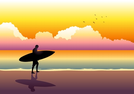 panoramic beach: Illustration of a surfer walking at the beach during sunset