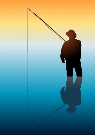 hombre pescando: Ilustración de un hombre que pescaba en aguas tranquilas