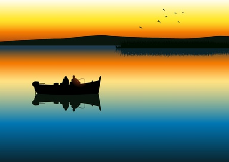 hengelsport: illustratie van twee mannen silhouet vissen op rustige meer