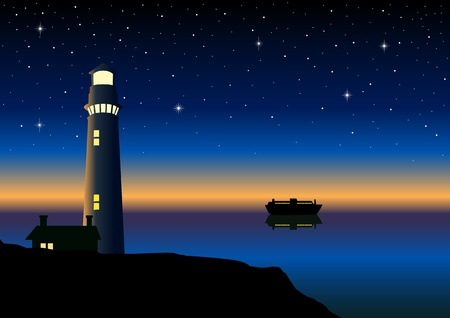 night view: Vector illustration of a lighthouse  Illustration