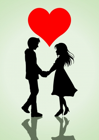 woman holding card: illustration of a couple holding hands with heart symbol on top Illustration