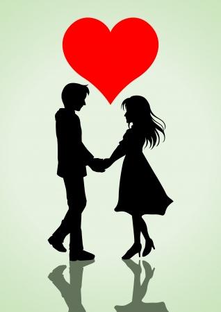 silhouettes lovers: ilustración de una pareja cogidos de la mano con el símbolo del corazón en la parte superior Vectores